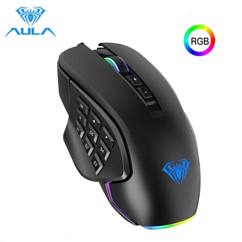 AULA RGB Gaming Maus 10000 DPI Seite Tasten Makro Programmierbare Ergonomische 14 Wired Backlit Gamer Mäuse für Laptop