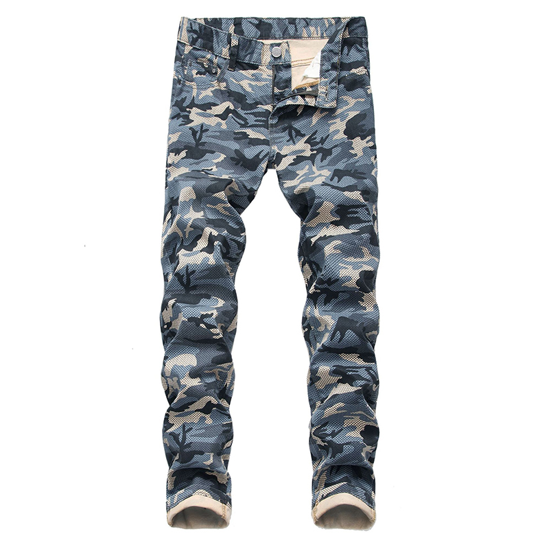 Sokotoo Men's Camouflage Print Jeans Casual Plus Big Size Slim Straight Denim Pants