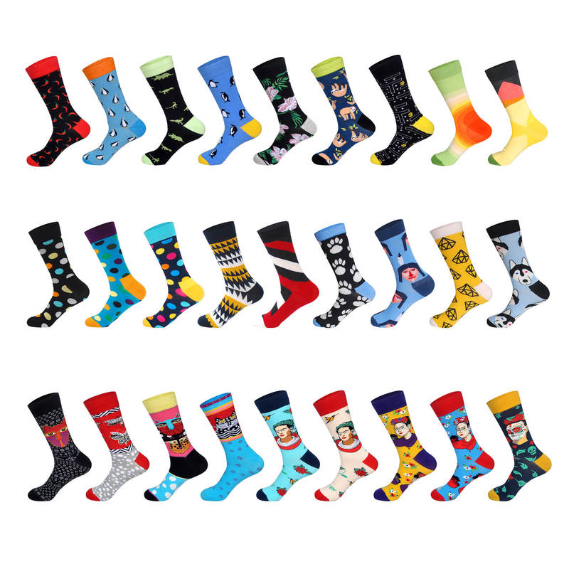 LIONZONE Newly Men Novelty Colorful Hot Pepper Monkey Penguin Dinosaur Flower Diamond Head  Dot Socks  Men Street Wear