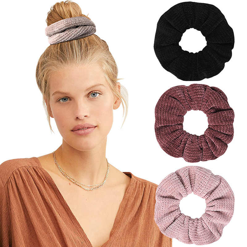 2019 Simple Corduroy Cloth Hair Ring Elastic Hair Bands For Women Girls Solid Color Knitted Scrunchies Ponytail Hair Accessories