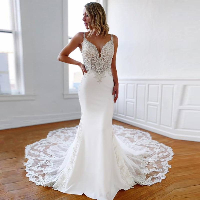 2020 Latest Luxury Applique Lace Beading Sleeveless Chapel Train Mermaid Bridal Dress Wedding Gown