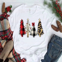 White T Shirt Christmas Tree Top Women Short Sleeve T-shirt Casual Plus Size Women Tops Tee Female Summer White Tee