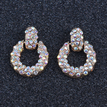 Venta al por mayor muy pequeños pendientes redondos Metal dorado de diamantes de imitación, pendientes cristales AB accesorios de la joyería