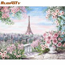 RUOPOTY – cadre romantique peinture acrylique par numéros, paysage, pour décoration murale de maison, 60x75cm, cadeau
