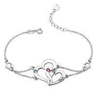 Sweey Dropshipping Customized Women Heart Bracelet with Name & Birthstones Personalized Engraved Interlocking Love Bracelet