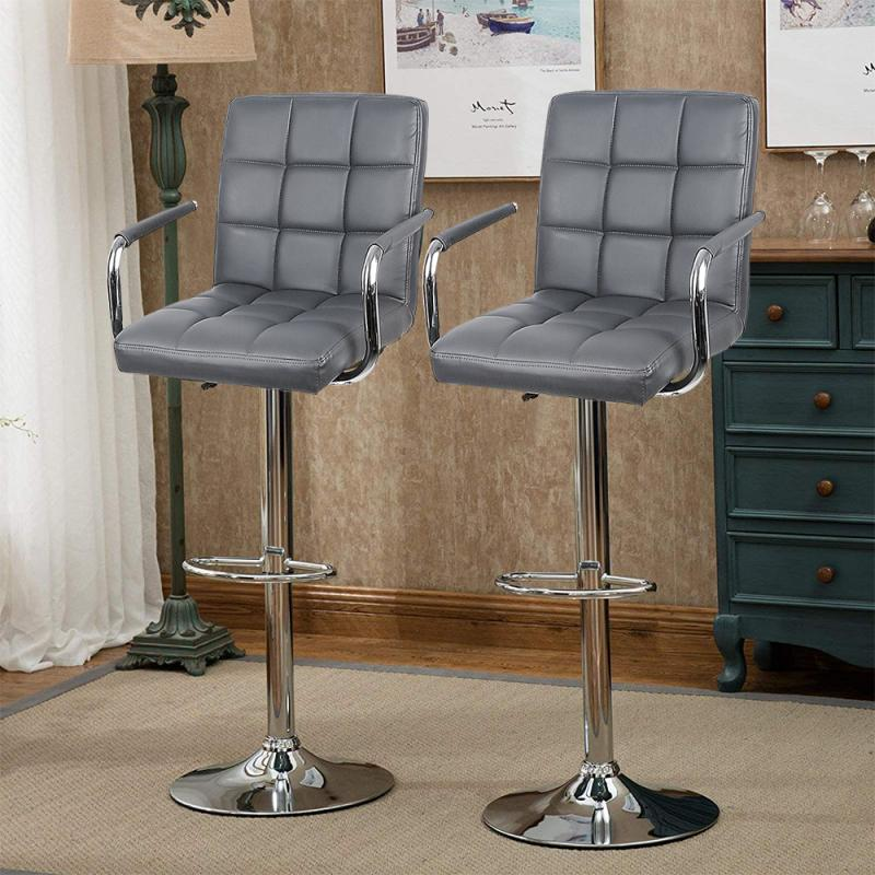 2pcs Bar Stools Swivel Seat In Faux Metal Base Height Adjustable With Armrests 3 Color Bar Chairs Bar Home Furniture HWC