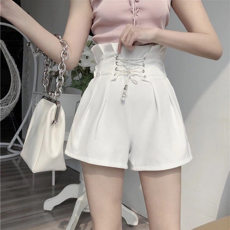 2020 New Summer Autumn Fashion Women Elastic High Waist Shorts Vintage Wide Leg Short Pants Solid Female Bandage Shorts