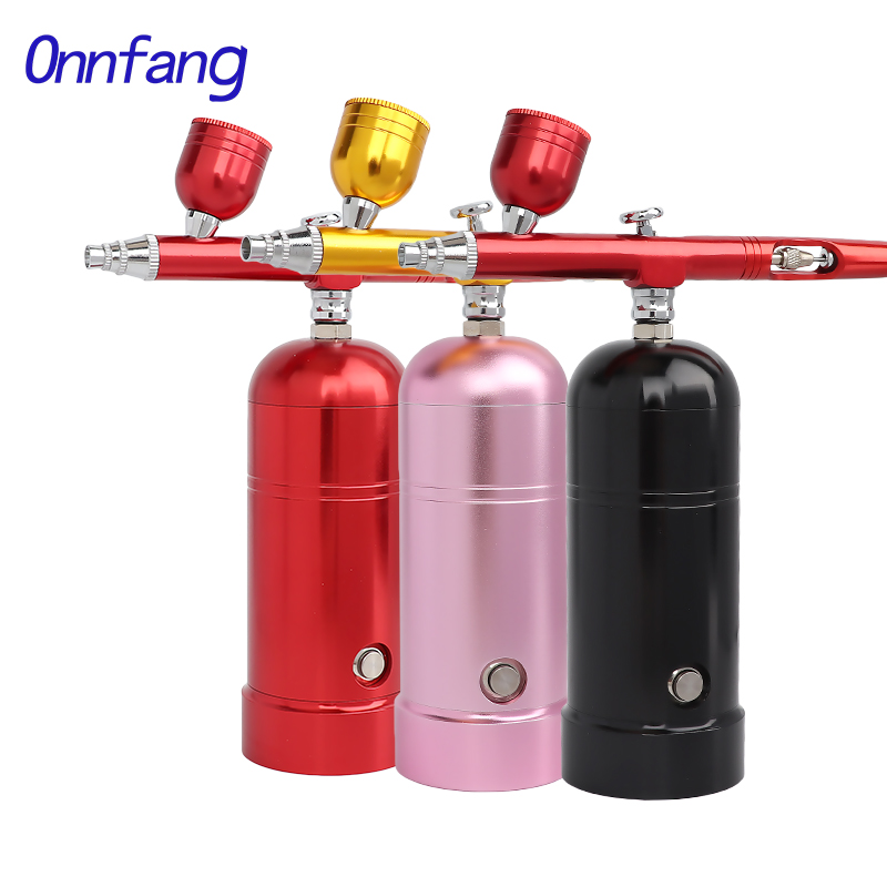 Onnfang Wireless Air Compressor Portable Airbrush 0.3&0.2&0.5mm Spary Gun Make Up Art Body Cake Model Car Water Filling Sprayer