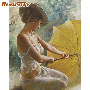 RUOPOTY  Diy Painting By Numbers Figure Picture Coloring By Numbers Acrylic Handpainted Oil Painting For Home Decor