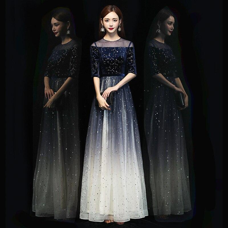 Host Evening Dress Female 2020 New Style Grand Banquet  Long Noble Choir Performance Dress Female Long Skirt