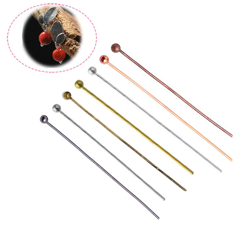200Pcs20-50mm Head Pins Gold/Silver//Rhodium/Bronze Head Ball Pins For Jewelry Findings Making DIY Needles