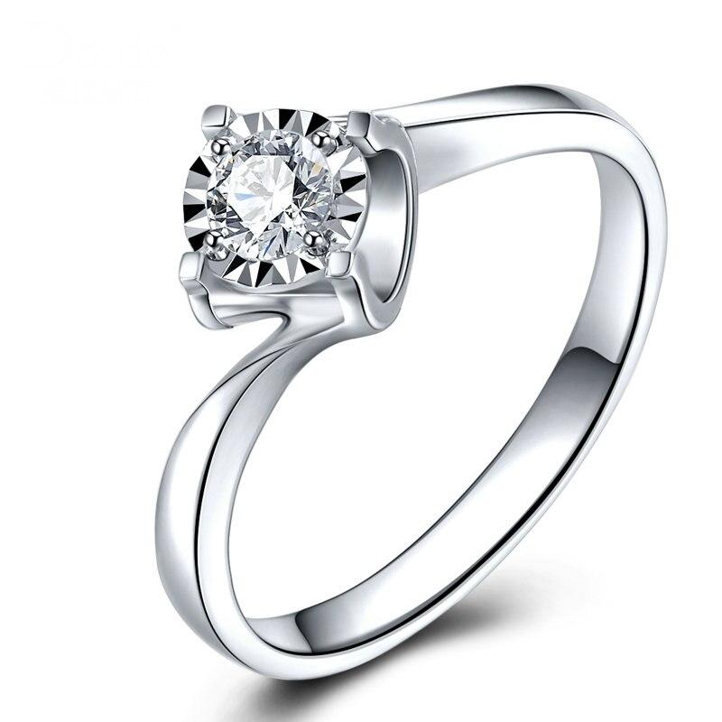 Luxus GIA Diamant Engagement Ring Solitaire Für Frauen 0.2ct Natürliche GIA Diamant Klassische Design 4 klaue Hochzeit Band - 2