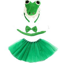 Dinosaur Cosplay Costume Tutu-Skirt Animal Crocodile Halloween Kids for Christmas Headband