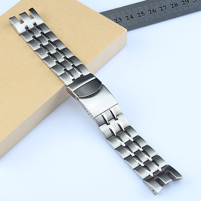 Bracelet de montre solide en acier inoxydable, 22mm, pour Swatch YRS403 406 403 402G 412 413 418, fermoir pliant, Logo sur