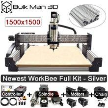 Новые серебряные 1515 WorkBee CNC маршрутизатор машина полный комплект с пощипывание напряжение Системы 4 оси гравер полный комплект древесины ме...