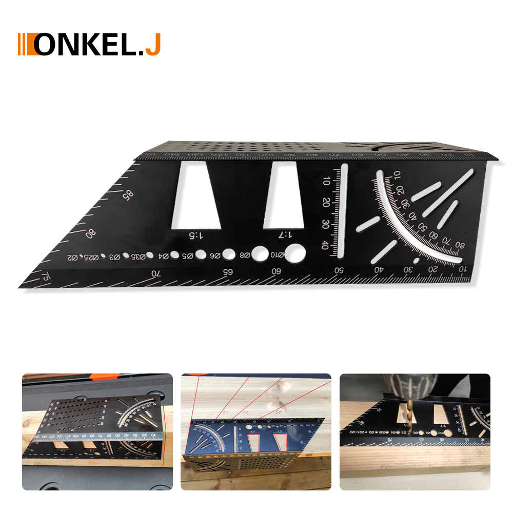 Aluminum Alloy Carpenter's T Marking Miter Gauge Angle 45 Degrees Bevel 90 Degrees Dovetail Template Woodworking Scribing Tool