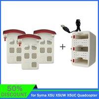 Batería de 3,7 V y 500mAh para Dron teledirigido, 3 uds., 3 en 1, caja de carga para Dron Syma X5U X5UW X5UC, piezas de cuadricóptero RC