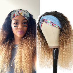 Encaracolado cabelo humano bandana peruca ombre remy perucas de cabelo humano aperto bandana cachecol sem arrancar perucas para as mulheres peruca de cabelo colorido