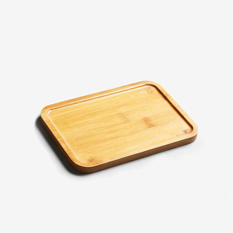 Bamboo Tea Tray Rectangular Fruit Dish Storage Saucer For Cups Kitchen Container