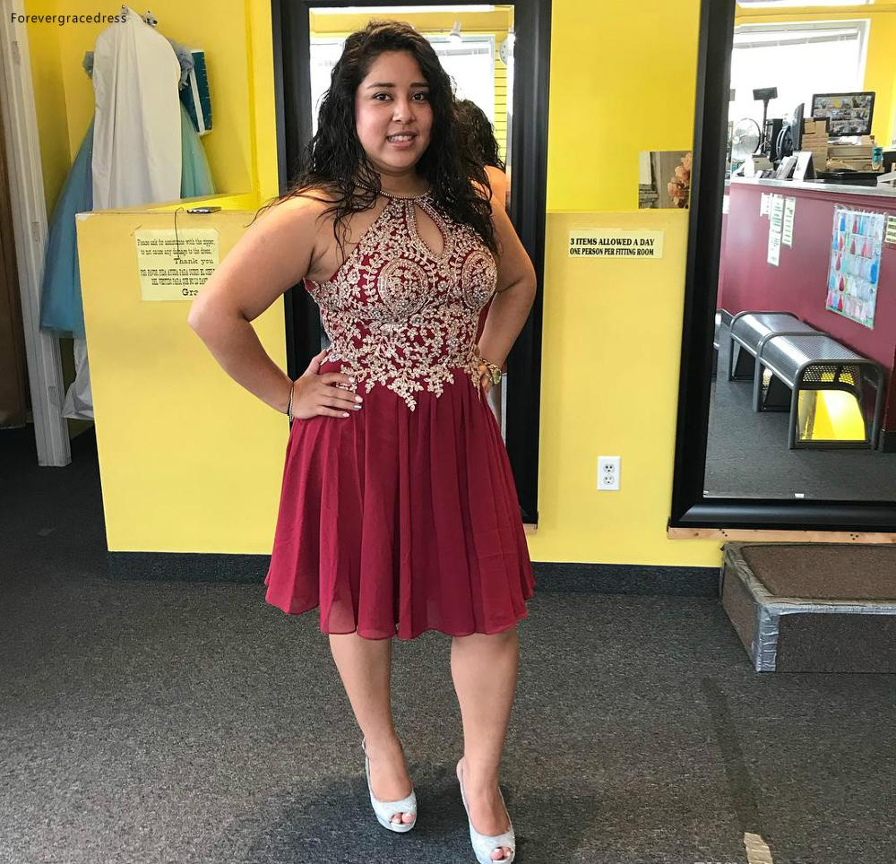 2019 Cheap Burgundy Short Homecoming Dress A Line Juniors Sweet 15 Graduation Cocktail Party Dress Plus Size Custom Made