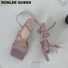 2020 New Fashion Women Sandals Narrow Band Vintage Squate Toe Med Heels 4cm Buckle Strap Sandals Women Summer Shoes Brand Sandal
