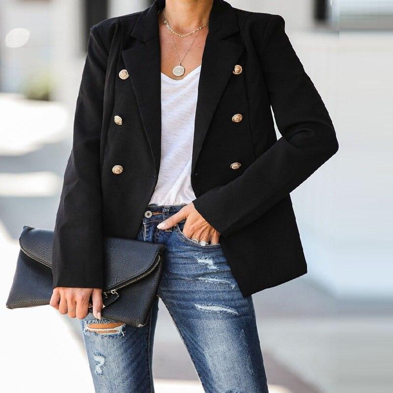 New 3XL Spring Autumn Women Blazer Plus Size Fashion Vestidos Causal Loose Double Button Solid Small Blazer For Women Outerwear