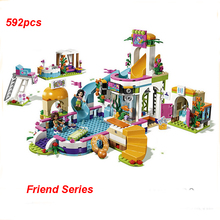 New Compatible Friends Building Blocks Set Heart Lake City Summer Pool Model Brick Toys For Children dhl lepin 02039 898pcs new city series red cargo train set children building blocks brick educational children toys model 3677