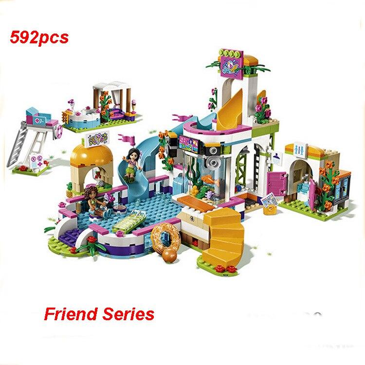 New Compatible Friends Building Blocks Set Heart Lake City Summer Pool Model Brick Toys For Children