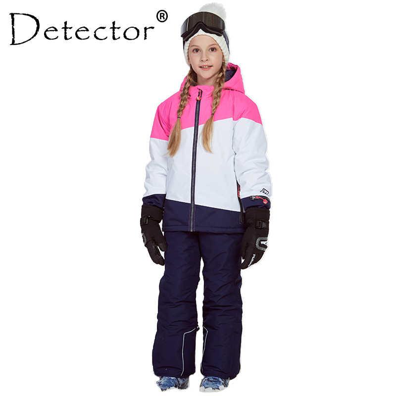 Зимняя Теплая Лыжная куртка и штаны для девочек, костюм для катания на лыжах, ветрозащитный детский комплект одежды для улицы, детские зимние комплекты для мальчиков и девочек