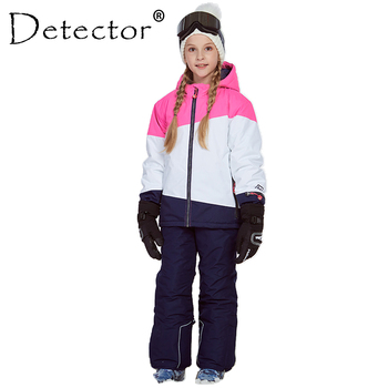 Detector Girl Ski Jacket and Pant Winter Warm Skiing Suit Windproof Outdoor Children Clothing Set Kids Snow Sets For Boys Girls free shipping kids ski jacket winter outdoor children clothing windproof skiing jackets warm snow suit for boys girls