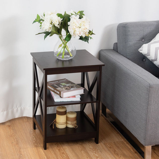 Costway 2PC 3-Tier Nightstand End Table  5