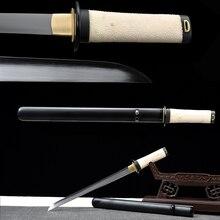 Echtes Tanto-1095 carbon Steel Lehm Gehärtetem Handgemachte Japanische Messer-Samurai Schwert Gerade Klinge Full Tang-Rochenhaut griff