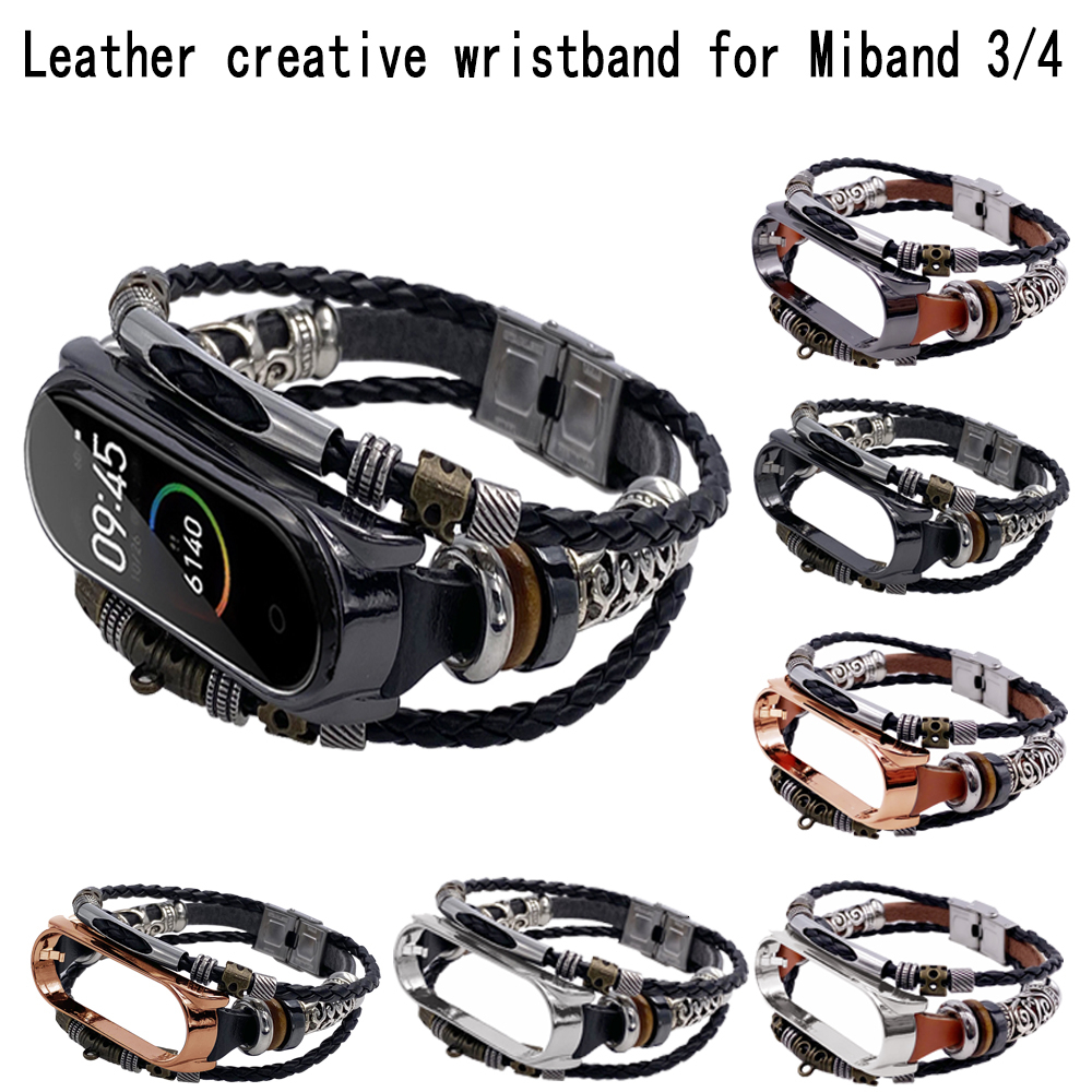 DIY Vintage Leather Bracelet For Xiaomi Mi Band Bracelet 4 Watch Strap  Xiao Mi 3 Bracelet For Mi Band 3 Bracelet Wristband