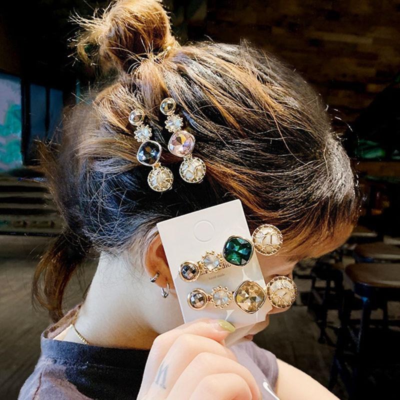 Korean Hair Clip Women 2019 Fashion Jewelry Crystal Geometric Round Gold Barrette Elegant Head Accesorios Mujer Tiara Party Gift