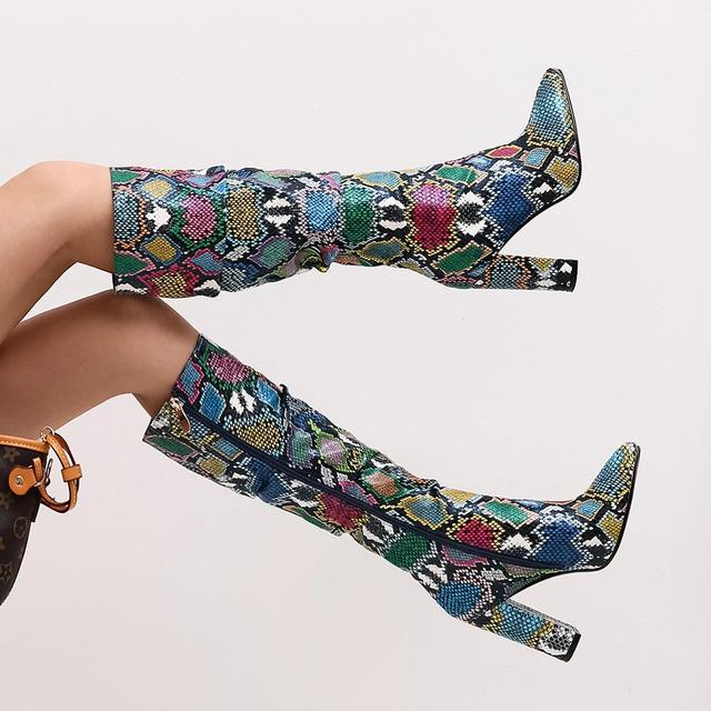 WETKISS Colorful Snake Skin Boots Women High Heel Thick Boot snakeskin Pointed Toe Zip Shoes Female Slouch Boots Pleated Winter 3