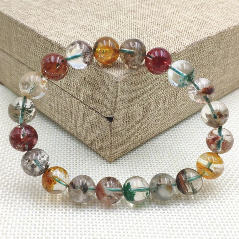 10mm naturel coloré fantôme Quartz femmes homme Reiki puissance perles rondes extensible cristal Bracelet jardin fantôme perles claires AAAAA
