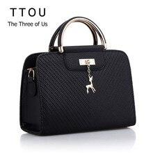 TTOU 2020 Elegant Handbag Women PU Leather Bag Large Capacity Shoulder Bags Casual Tote Simple Top handle Deer Decor Hand Bags