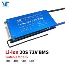 20S BMS 72V 3.7V 리튬 배터리 보호 보드 온도 이퀄라이제이션 과전류 보호 PCB 30A 40A 50A 60A