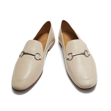 Lok-Shoes Office Soft Genuine-Leather Women Sheepskin England-Style Solid Loafers
