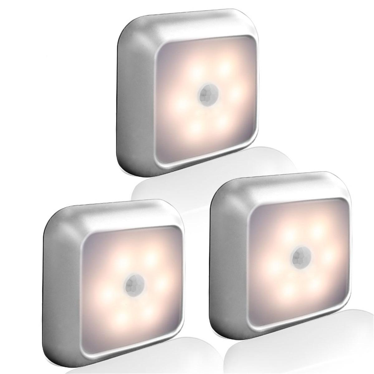 Sensor de movimiento PIR bajo la luz del Gabinete 6Led Smart Auto luz de noche lampadada hogar dormitorio armario cocina armario Luz Anillos cuadrados Circel, luces de techo para sala de estar, dormitorio, hogar, lámparas de techo Led modernas, accesorios lustre plafonnier, dropshipping