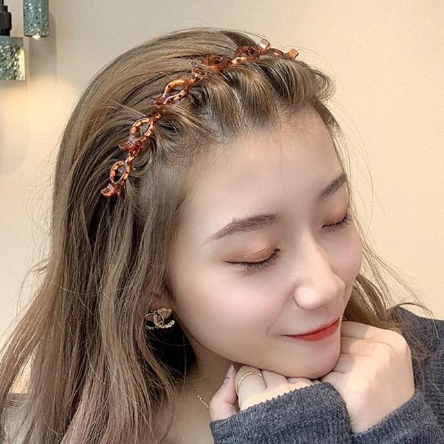 AWAYTR Double Layer Bands Clip Hairbands Fashion Plastic Braided Headband Punk New Knitting Womens Headwear Hair Accessories 3