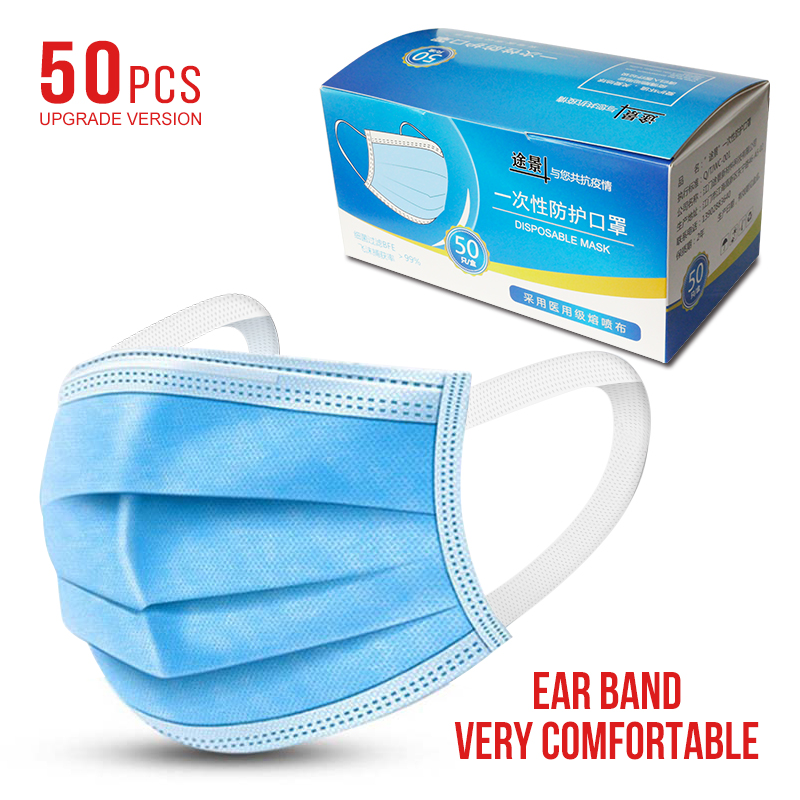 Image 5 - ast delivery Hot Sale Surgical mask 50pcs Face Mouth Masks Non  Woven Disposable Medical Anti Dust Surgical Earloops Masks  -