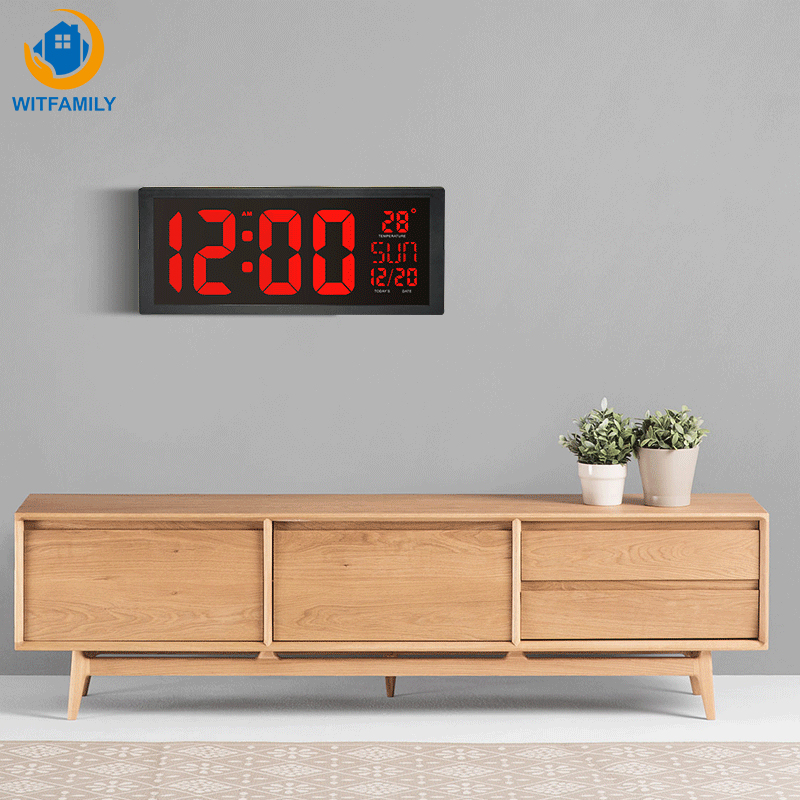 Large Number LED Wall Clock Display Electronic Thermometer Week Decorate Time Memory Clock Digital Clock Home Wall Clocks