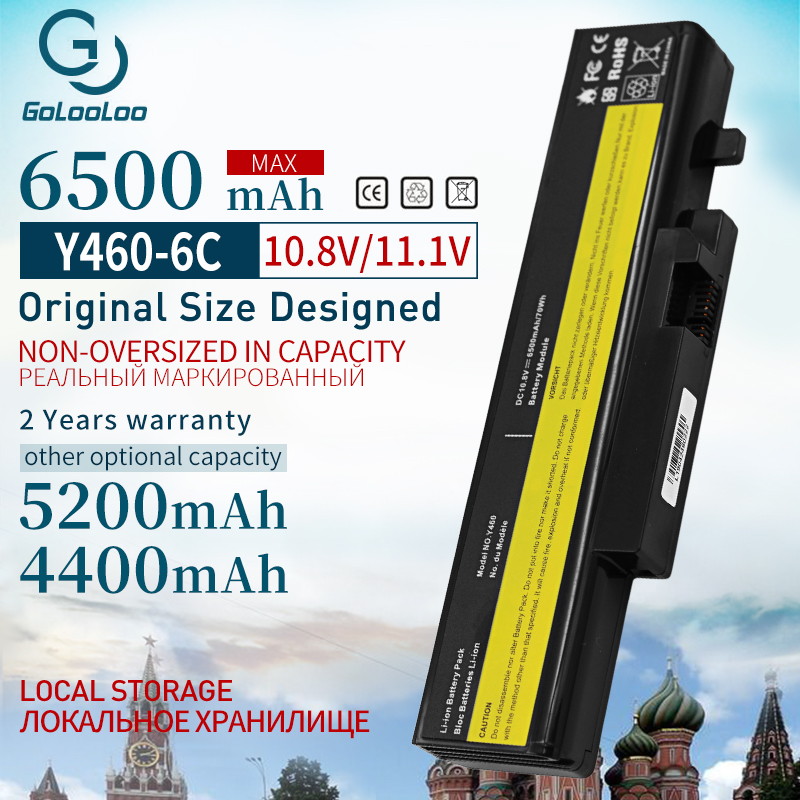 Golooloo 6500MAH 6CELL Laptop Battery L10L6Y01 B560 L09l6d16 For Lenovo For IdeaPad Y460A Y560A Y560P Y560G Y560