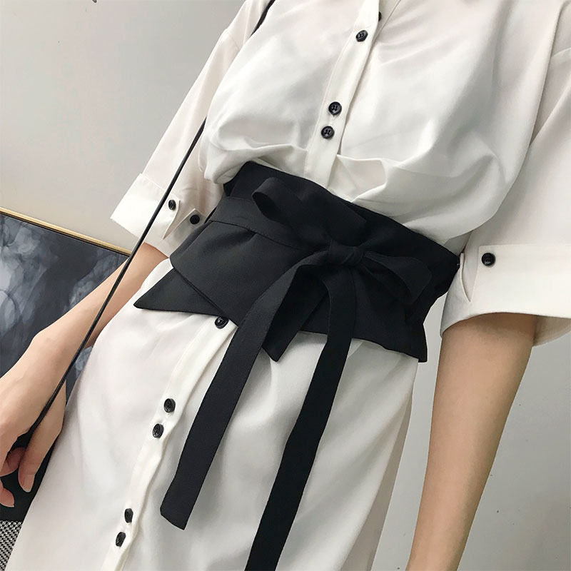 Fashion Women  Wide Elastic Belts Black Bowknot  Slim Corset Shirt And Dress Waist Belt All-match Clothing Accessories
