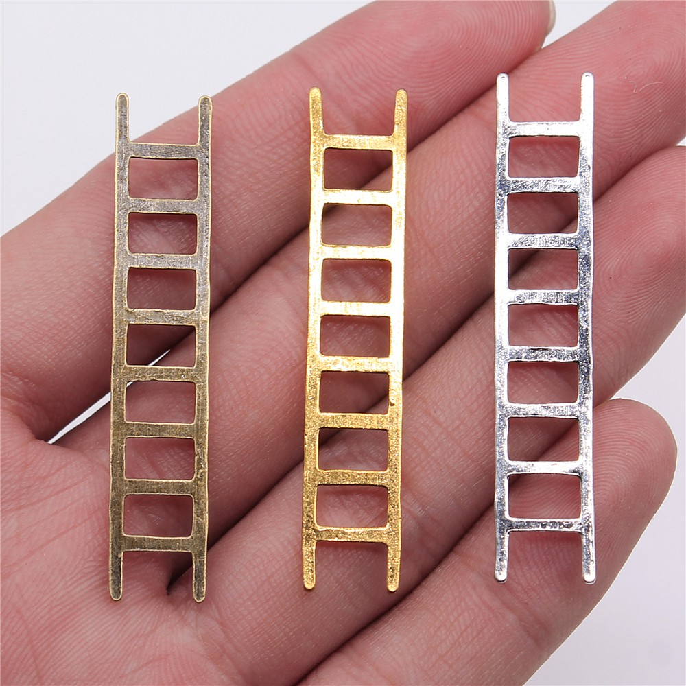 Pendant Charms Jewelry-Making Silver-Color Antique Bronze 10pcs for 51x10mm Ladders Gold