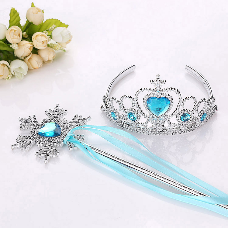 Frozen 2 Headband Elsa Princess Crown Cosplay Baby Girls Toys Snowflake Magic Stick Children Party Toys Birthday Gift Photo Prop