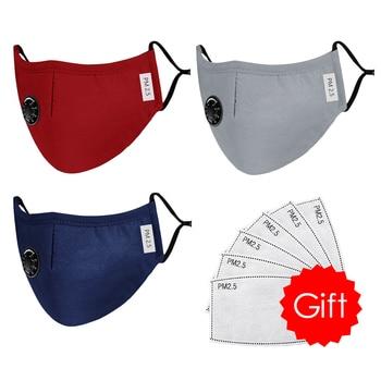 High Quality 3pcs Unisex Cotton Breath Valve Face Mouth Mask Cloth Activated Carbon Filter Respirator For Men Women 4 Colors 11