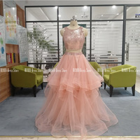 Two Piece Ruffled Prom Dresses With Sequins Boat Neck Floor Length Tulle A line Formal Evening Gown For Party Vestidos De Gala