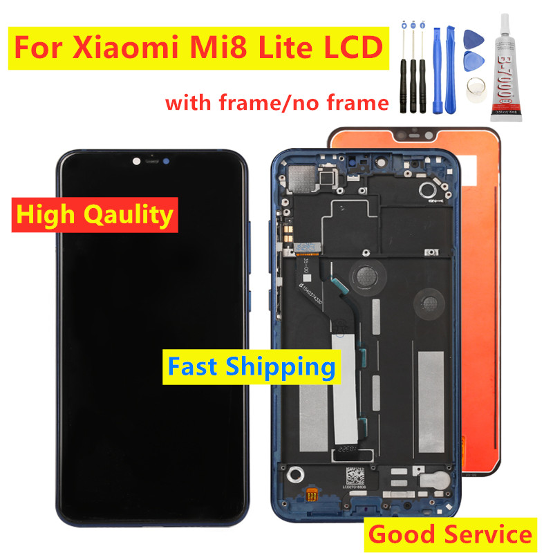 6.26 Inch For <font><b>Xiaomi</b></font> <font><b>Mi</b></font> <font><b>8</b></font> Lite LCD <font><b>Display</b></font> Touch Screen Digitizer Assembly With Frame 10 Point touch replacement repair parts image